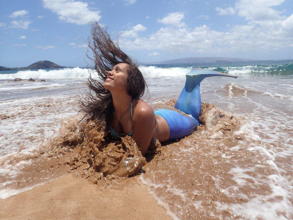 mermaid in Maui with ocean splash