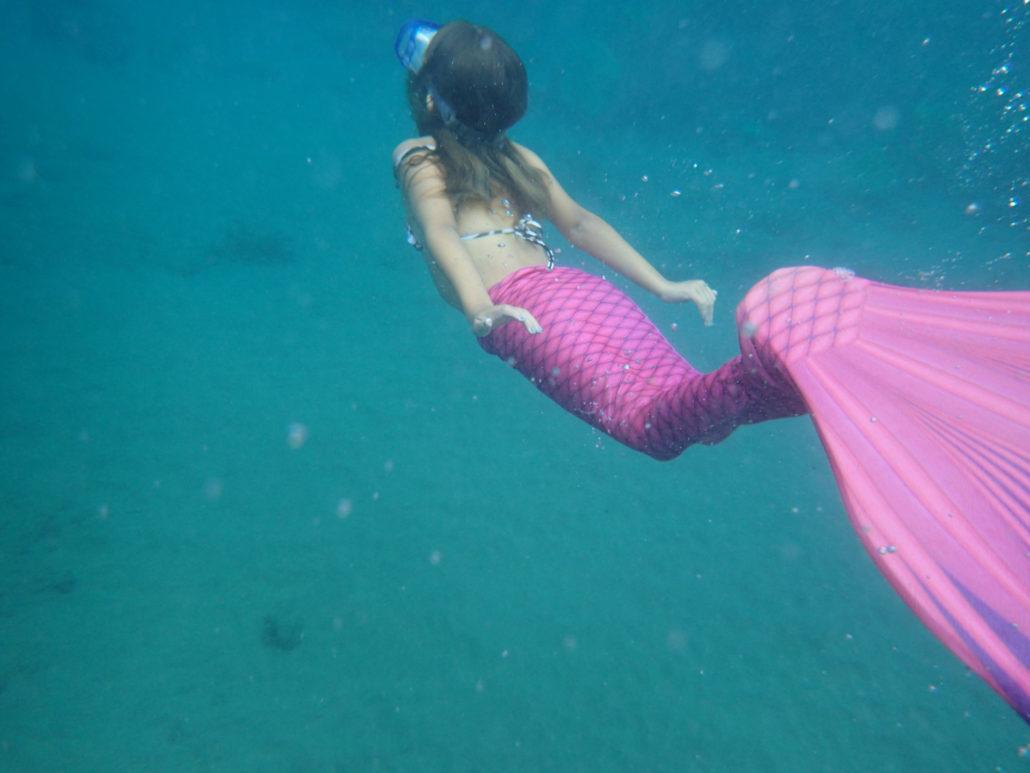 pink mermaid underwater