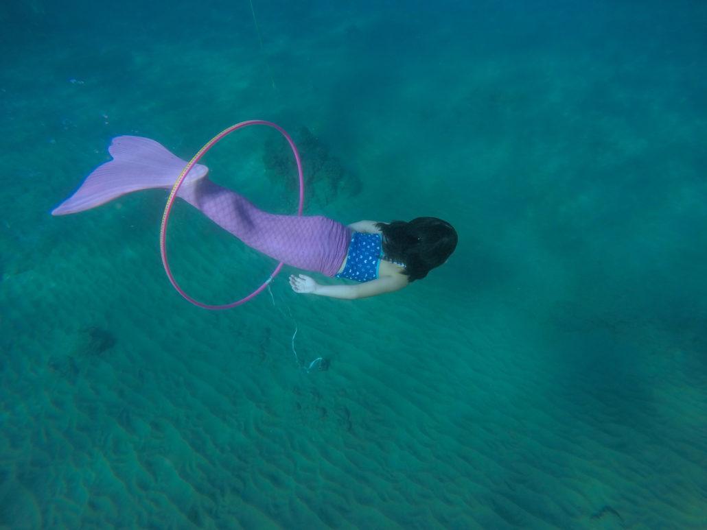 pink mermaid underwater hoop